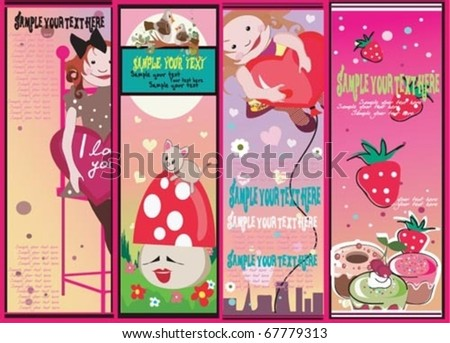 Funny spring summer cards. - stock vector