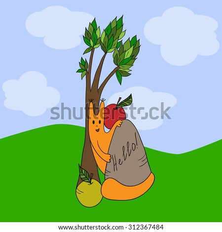 Funny squirrel peeks out from behind the stone; vector illustration. - stock vector