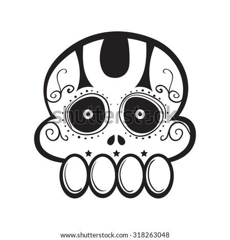 Funny sugar skull line art vector illustration - stock vector