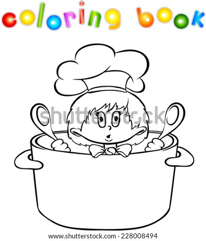 Funny surprised kitchen boy coloring book. Vector illustration - stock vector