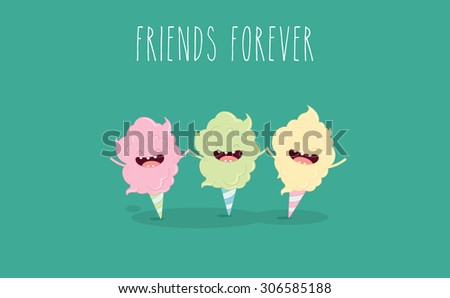 Funny sweet cotton candy. Vector illustration - stock vector