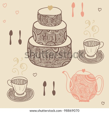 funny tea party set with cake, teapot, cups and spoons