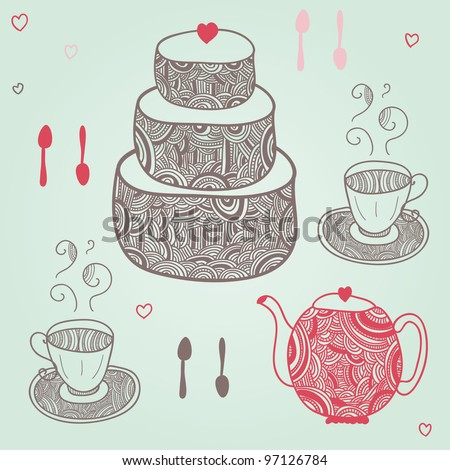 funny tea party with cake, cups, spoons and teapot