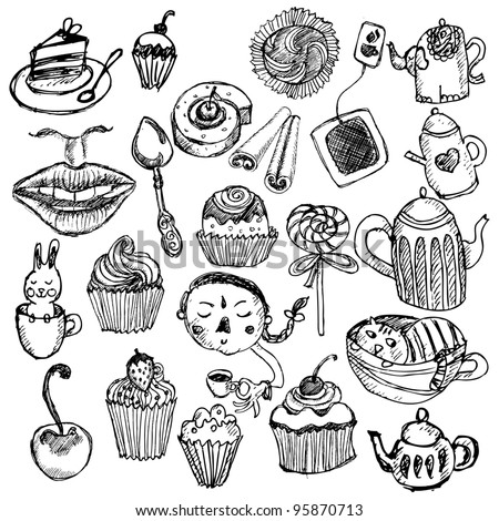 Funny tea time set - stock vector