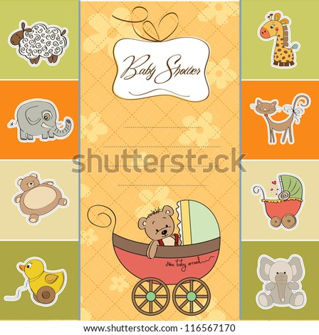 funny teddy bear in stroller, baby announcement card - stock vector