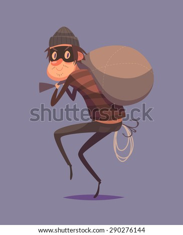 Funny thief character. Isolated vector illustration. - stock vector