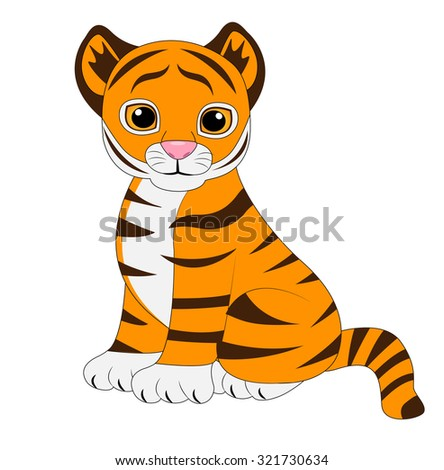 funny tiger on white background,vector illustration