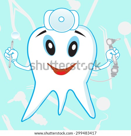 Funny tooth dentist with tools on a light blue background
