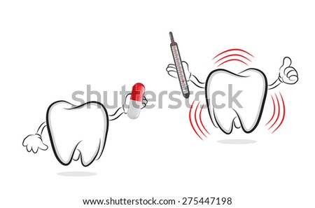 Funny tooth offering pill to another one with inflammation  - stock vector
