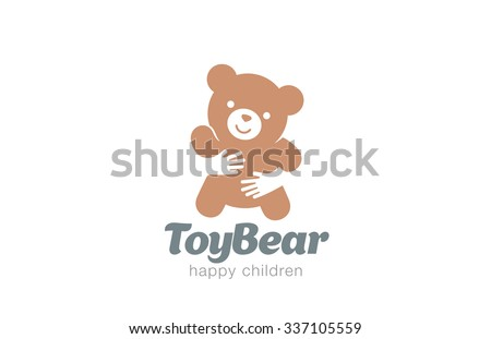 funny toy bear embrace logo designのベクター画像素材 337105559