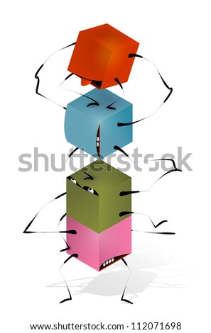 Funny Toy Blocks Pyramid. Toy funny pyramid of colorful blocks characters. Vector EPS 10.