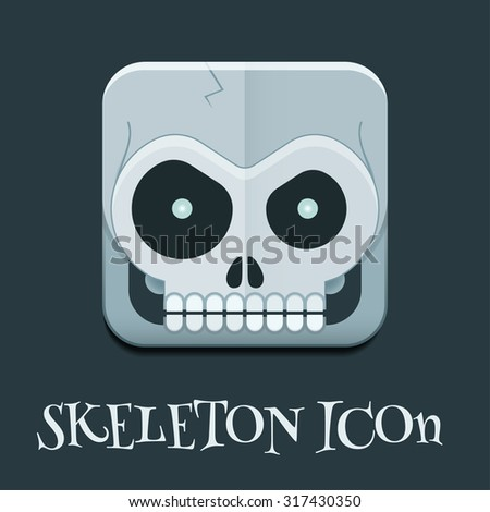 Funny toy skeleton skull square icon. Mad crazy halloween caricature skull pictogram. Monster creative button - stock vector