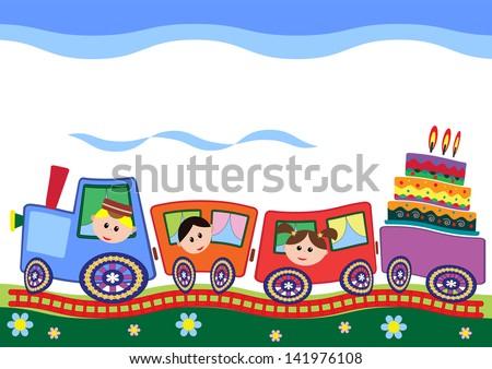 Funny train. - stock vector