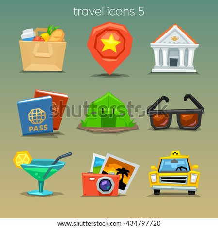 Funny travel icons-set 5 - stock vector