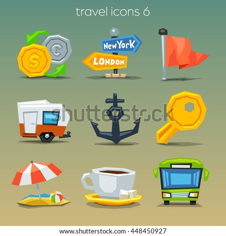 Funny travel icons-set 6