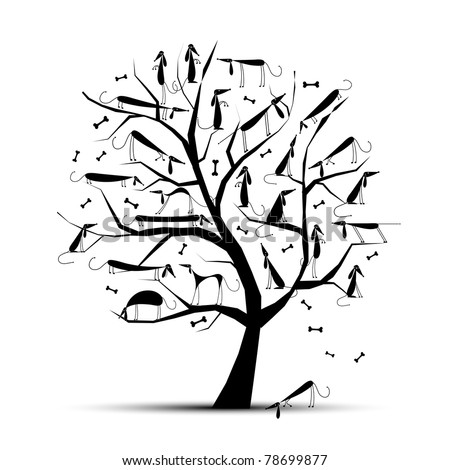 Funny tree with dogs on branches for your design - stock vector
