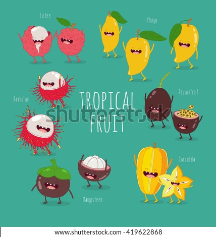 Funny tropical fruits. Mango, mangosteen, lychee, rambutan, passion fruit . Vector illustration. Comic character