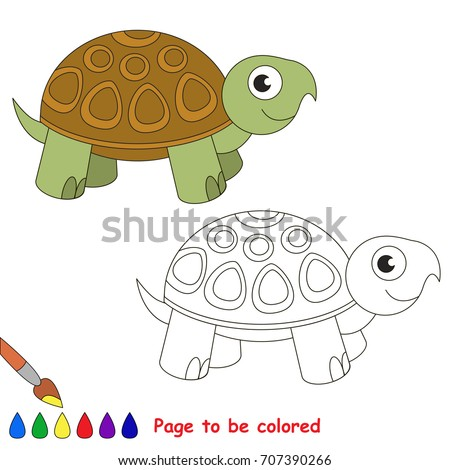 Funny Turtle Be Colored Coloring Book Stock Vector (2018) 707390266 ...