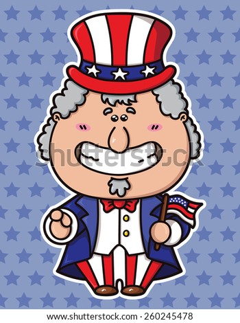 funny Uncle Sam Wants You. vector illustration of kawaii Uncle Sam which is holding american flag - stock vector