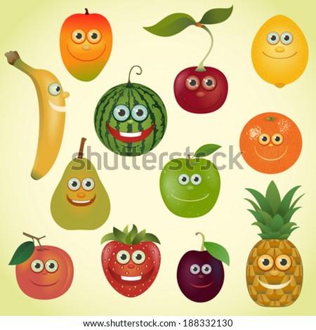 Funny various cartoon fruits set - stock vector