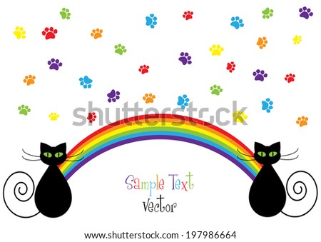 funny vector background with cartoon cats and rainbow