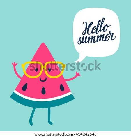 """Funny vector background with watermelon slice in glasses, speech bubble and hand written text """"Hello summer"""". Hand drawing summer card. - stock vector"""