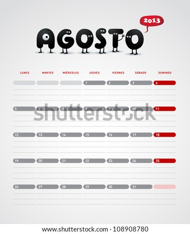 Funny 2013 vector calendar. August. In spanish. - stock vector