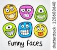 Funny vector faces. - stock vector