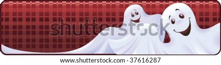 Funny vector Halloween banner with ghosts - stock vector