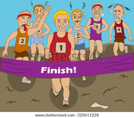 Funny vector illustration of a group of marathon runners, finally coming to the finish. - stock vector