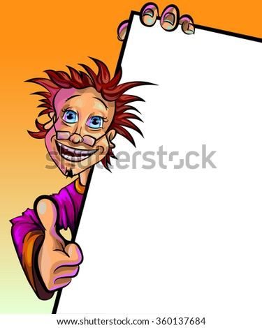 Funny vector illustration of a man holding blank poster and showing thumbs up. May be used as an advertisement. Made in comic cartoon style. - stock vector