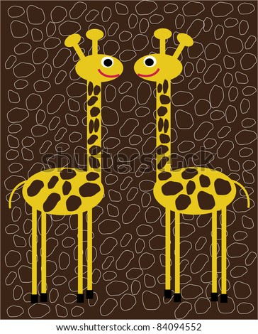 funny vector illustration of two giraffes in love isolated on brown background with blots,creative computer graphic design with natural theme,animal - stock vector