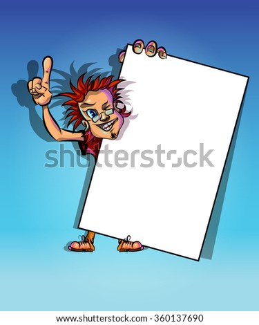 Funny vector illustration of winking man holding blank poster and showing his index finger. May be used as an advertisement. Made in comic cartoon style. - stock vector