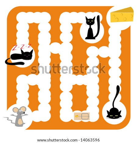 Funny vector labyrinth for children entertainment with cats, mouse and cheese