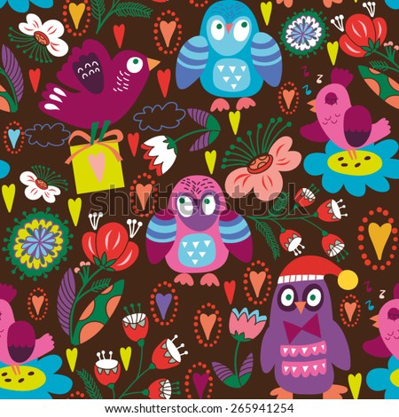 Funny vector pattern of owls and flowers for kids. - stock vector