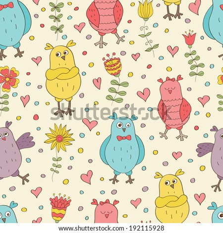 Funny vector seamless pattern. Cartoon color owls on light background. Ideal for textile, wallpaper, wrapping. - stock vector