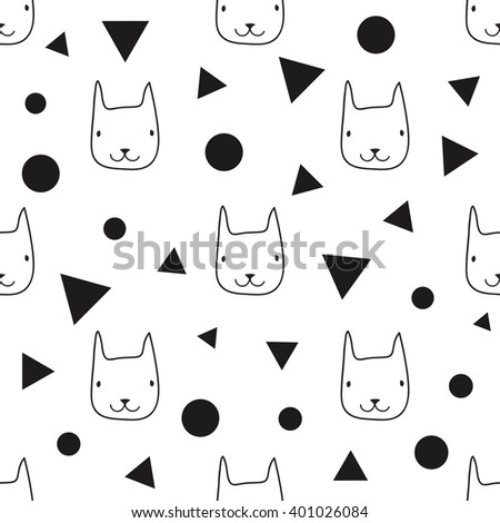 Funny vector seamless pattern with animals. Wallpaper with cartoon cat heads. Black and white monochrome print design - stock vector