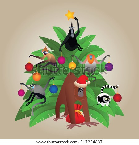 Funny vector set of the monkeys with christmas palm