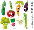 funny vegetable cartoon isolated on white background - stock photo