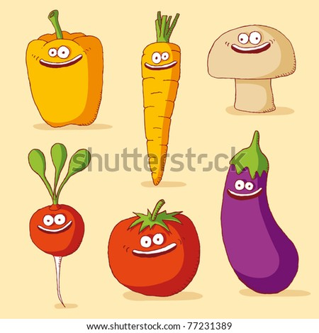 funny vegetables - stock vector