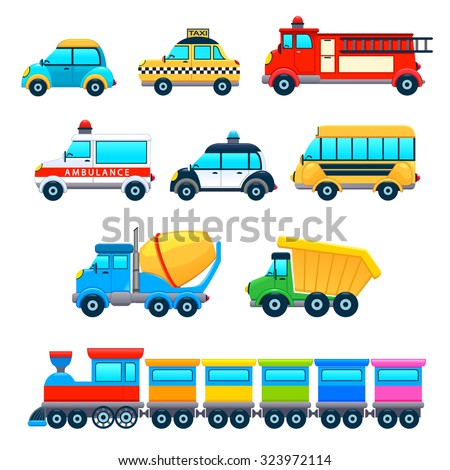 Funny vehicles. Vector cartoon isolated objects. - stock vector