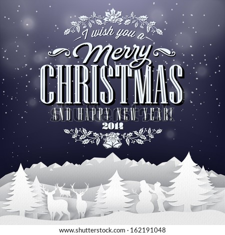 Funny Vintage Paper Christmas Elements  Background With Typography - stock vector