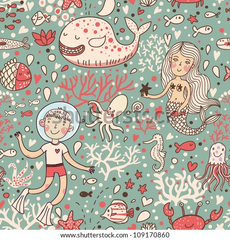 Funny vintage seamless pattern with whale and mermaid. underwater sea life - stock vector