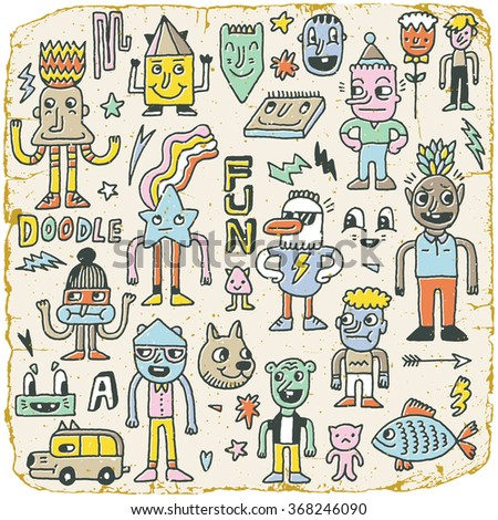 Funny Wacky Doodle Characters Set 2. Vintage Texture. Vector Illustration.