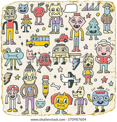 Funny Wacky Doodle Characters Set 8. Vintage Texture. Vector Illustration. - stock vector