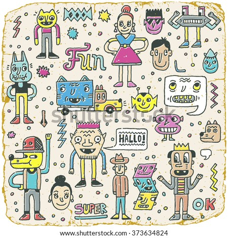 Funny Wacky Doodle Characters Set 12. Vintage Texture. Vector Illustration. - stock vector