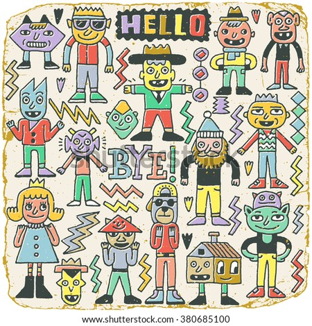 Funny Wacky Doodle Characters Set 20. Vintage Texture. Vector Illustration. - stock vector