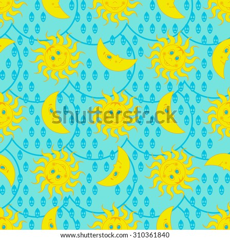 Funny weather pattern with sun and moon - stock vector