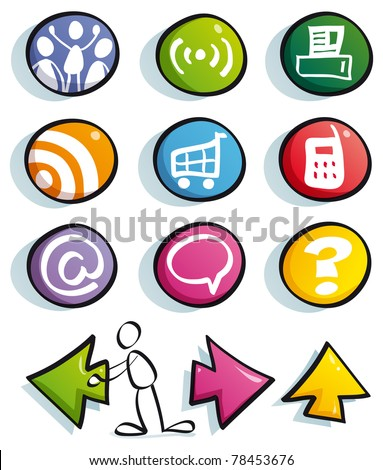 funny web buttons with icons for cute website: mail, frequently asked questions, information, home, find, net, couinity, Social Network - stock vector
