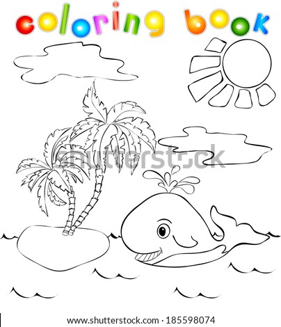 Funny whale near the tropical island with palms. Coloring book - stock vector